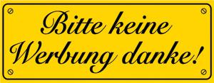 PVC-Aufkleber - BITTE KEINE WERBUNG DANKE - 308022/5 - Gr. ca. 90 x 35 mm