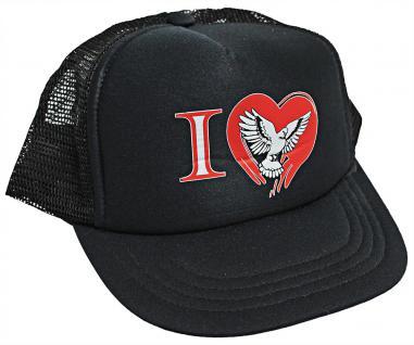 Schirmmütze - Cap mit gr. Tauben-Stick - I love Tauben Herz - TB672 schwarz - Baumwollcap Baseballcap Hut Cappy