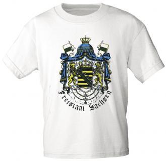 T-Shirt unisex mit Aufdruck - FREISTAAT SACHSEN - 09311 weiß - Gr. S-2XL