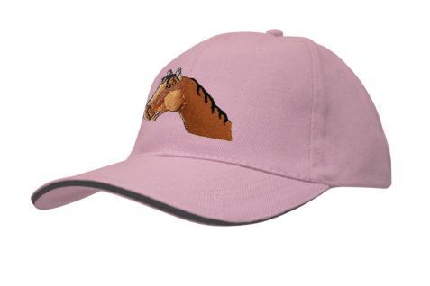 Cap mit gr. Pferde - Stick - Pferdekopf - 69243-3 rosa - Baumwollcap Baseballcap Hut Cappy Schirmmütze