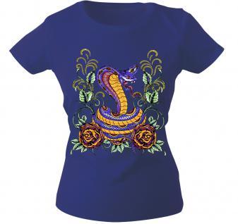 Girly-Shirt mit Print - Schlange - 10974 - versch. farben zur Wahl - blau / M