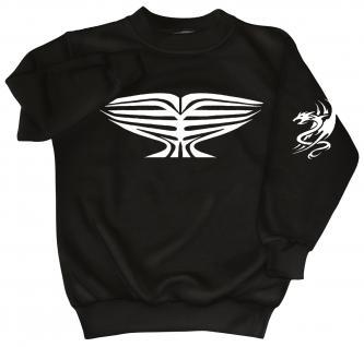 Sweatshirt mit Print - Tattoo Drache - 09031 - versch. farben zur Wahl - Gr. S-XXL schwarz / L - Vorschau 1