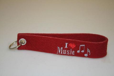 Filz-Schlüsselanhänger mit Stick - I love Music - Gr. ca. 17x3cm - 14270
