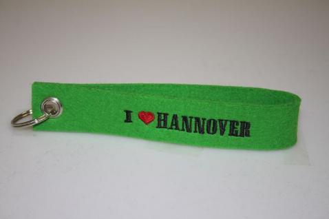 Filz-Schlüsselanhänger mit Stick - I love Hannover - Gr. ca. 17x3cm - 14317