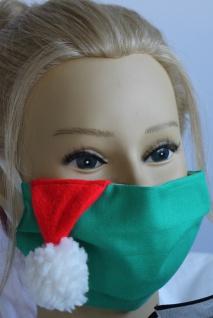 Textil Design Maske aus Baumwolle, mit zertifiziertem Innenvlies - Grün mit weißer Bommel - 15888