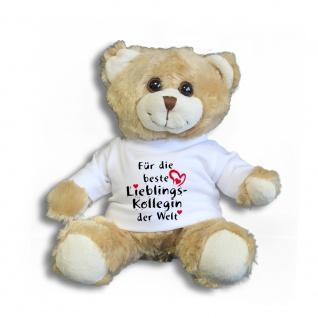 Teddybär mit T-Shirt - für die beste Lieblingskollegin der Welt Gr. ca. 26 cm - 27004 hellbraun