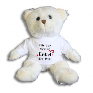 Teddybär mit Shirt - Für den besten Enkel der Welt -- Größe ca. 26cm - 27033 weiß