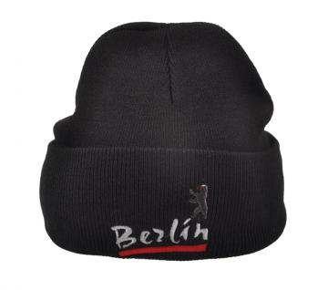 HIP-HOP Mütze Strickmütze mit Einstickung ? Berlin - 54299 Schwarz