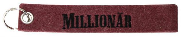 Filz-Schlüsselanhänger mit Stick MILLIONÄR Gr. ca. 17x3cm 14167rot