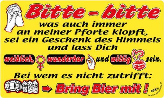 Spaß-Schild - Bitte bitte....bring Bier mit - 309208 - 25cm x 15cm