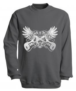 Sweatshirt - Rock´n Roll - S10248 - versch. farben zur Wahl - Gr. S-XXL grau / XL
