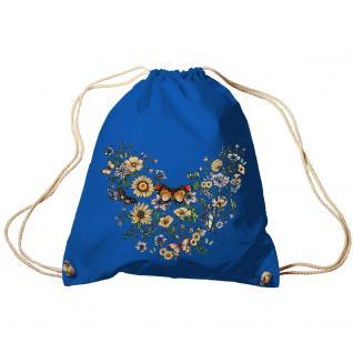 Trend-Bag Turnbeutel Sporttasche Rucksack mit Print -Blumen und Schmetterlinge - TB65321 Royal