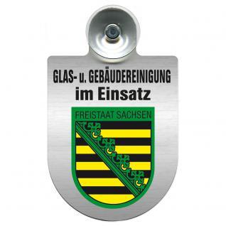 Einsatzschild für Windschutzscheibe incl. Saugnapf - Glas- u. Gebäudereinigung im Einsatz - 309399-3 Region Freistaat Sachsen