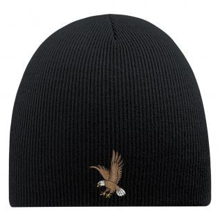 Beanie-Mütze mit Einstickung - ADLER - Wollmütze Wintermütze Strickmütze - 54801 schwarz