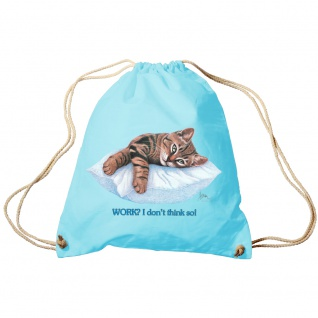 Sporttasche Turnbeutel Trend-Bag Print Cat Katze ruhend auf Kissen - KA072/2 hellblau