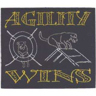 "AUFNÄHER "" Agility wins"" NEU Gr. ca. 8cm - 11cm (04578) Patches Stick Applikationatches Stick Applikation"