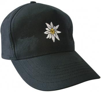 Baseballcap mit Einstickung - Edelweiss - 60980 schwarz