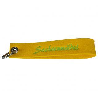 Filz-Schlüsselanhänger mit Einstickung - Sachsenmädel - Gr. ca. 17x3cm - 14392 - gelb