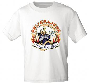Kinder T-Shirt mit Print - Feuerwehr Anwärter - 06909 versch. Farben zur Wahl - Gr. 86 - 164 weiß / 122/128