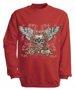 Sweatshirt mit Print - Santa Muerte - versch. farben zur Wahl - S10282 - Gr. rot / M