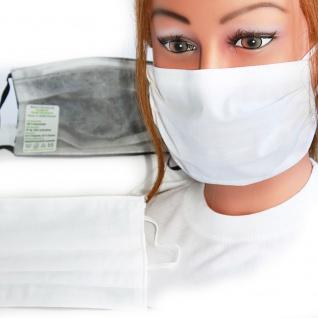 Textil Design-Maske waschbar aus Baumwolle mit Innenvlies - Weiss Unifarben Neutral + Zugabe - 15410