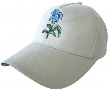 Cap mit Bestickung - Blume Enzian - 60981 - weiss - Cappy Kappe Baumwollcap