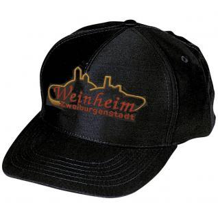 Baseball-Cap mit großer Stickerei - 2 Burgen Weinheim - 68848 schwarz - Baumwollcap Cappy Baseballcap Schirmmütze