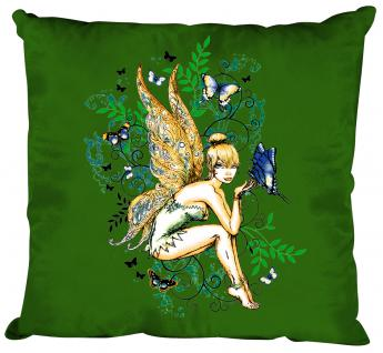 Dekokissen mit Print - Elfe Fee - Größe ca. 40 x 40 cm K10972 grün