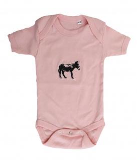 Babystrampler mit Einstickung ? Esel ? 08332 rosa - Gr. ca. 0-24 Monate