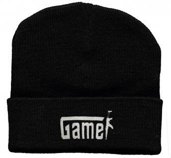 HIP-HOP Mütze Strickmütze mit Einstickung - Gamer - 31532 schwarz