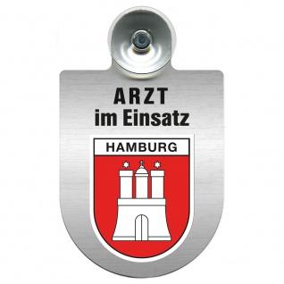 Einsatzschild Windschutzscheibe incl. Saugnapf - Arzt im Einsatz - 309352 Region Hamburg