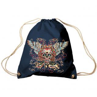 Trendbag Turnbeutel Sporttasche Rucksack mit Print - Totenkopf Skull Santa Muerte - TB65310 Navy