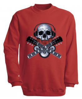 Sweatshirt mit Print - Skull Guitar - S10245 - versch. farben zur Wahl - Gr. rot / XL