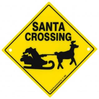 Adventure-Schild incl. 2 Saugnäpfe Hinweisschild Santa Crossing Rentier Schlitten 309130/1 Gr. ca. 22, 5cm x 22, 5cm
