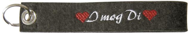 Filz-Schlüsselanhänger mit Stick I mog Di Gr. ca. 19x3cm 14017 schwarz