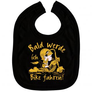 Babylätzchen mit Print - Bald werde ich Bike fahren - 07006 schwarz