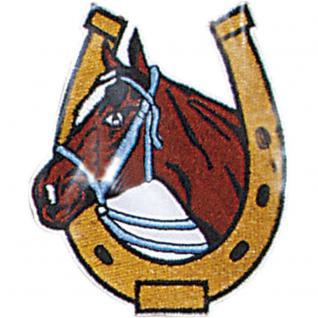 """Aufnäher Stick Emblem Abzeichen Patches Applikation Aufnäher Motivstick """" Pferd Hufeisen Glücksbringer"""" NEU Gr. ca. 7, 5cm x 9cm (04372)"""