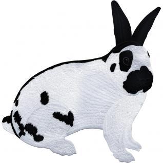 Aufnäher - Kaninchen weiß-schwarz - 07343 - Gr. ca. 30 x 27 cm - Patches Stick Applikation