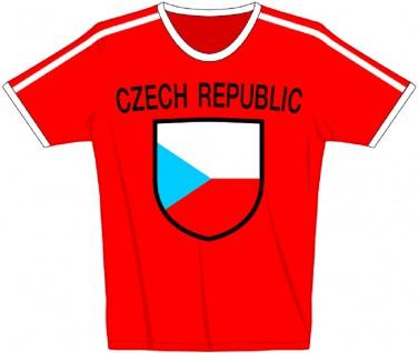 T-Shirt mit Print - Czech - Tschechien - 76472 - rot - Gr. L
