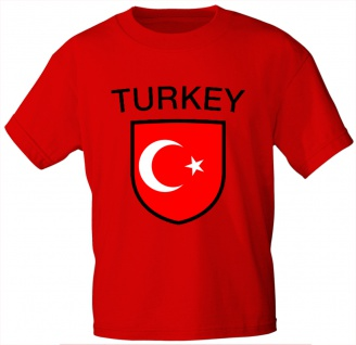 Kinder T-Shirt mit Print - Turkey - Türkei - 76164 - rot 134/146