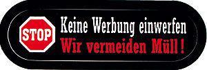 (302057) PVC-Aufkleber - STOP! Keine Werbung einwerfen Wir vermeiden Müll - Gr. ca. 6 x 1, 5cm