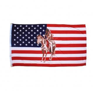 Fahne Flagge USA Amerika Indianer mit Pferd - Gr. ca. 150 x 90cm - 24332