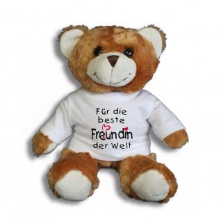 Teddybär mit Shirt - Für die beste Freundin der Welt - Größe ca 26cm - 27046 dunkelbraun