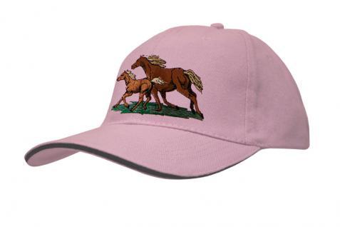 Baseballcap mit Pferde - Stick - galoppierendes Pferd mit Fohlen - 69248 türkis navy rosa - Baumwollcap Hut Schirmmütze Cappy Cap