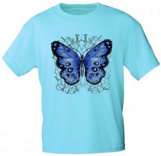 Kinder T-Shirt mit Print - Schmetterling - 06992 - türkis - Gr. 122/128
