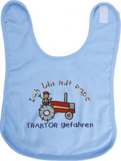 Baby-Lätzchen mit Einstickung - Ich bin mit Papa Traktor ...- 08467 hellblau