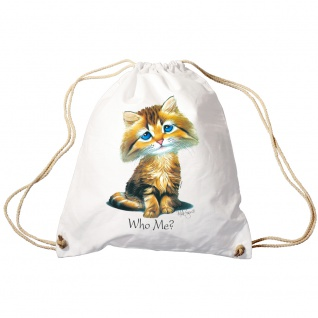 Trendbag Sporttasche Turnbeutel Print Katze Cat Who me? - 65141 versch. Farben weiß