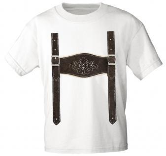 Kinder T-Shirt mit Print - Lederhose Hosenträger - 08632 weiß Gr. 122/128