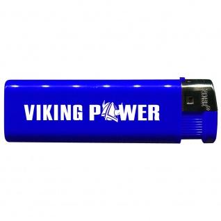 Einwegfeuerzeug mit Motiv - Trucker - Viking Power - 01144 versch. Farben blau