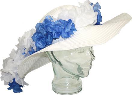(60792) Stroh- Hut/ Sonnen-Hut mit blau-weißen Blüten